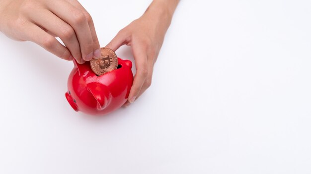 손으로 비트코인 동전을 빨간 돼지 저금통에 넣고 공간을 복사합니다. bitcoin 전자 화폐 절약 개념입니다. 온라인 전자 상거래 쇼핑 인터페이스 개념입니다.