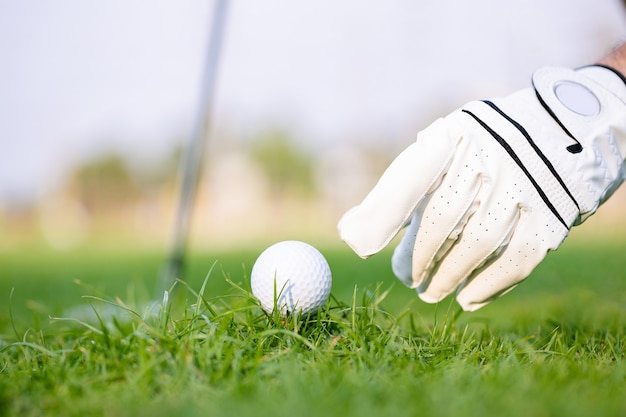 Hand putting golf ball on tee with club in golf course at green grass