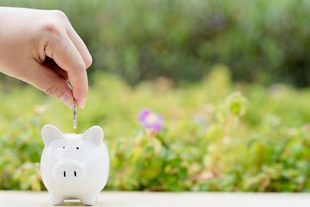 흐릿한 녹색 자연 배경에 돈 동전을 돼지 저금통에 넣는 손. 돈과 투자 개념을 절약합니다.