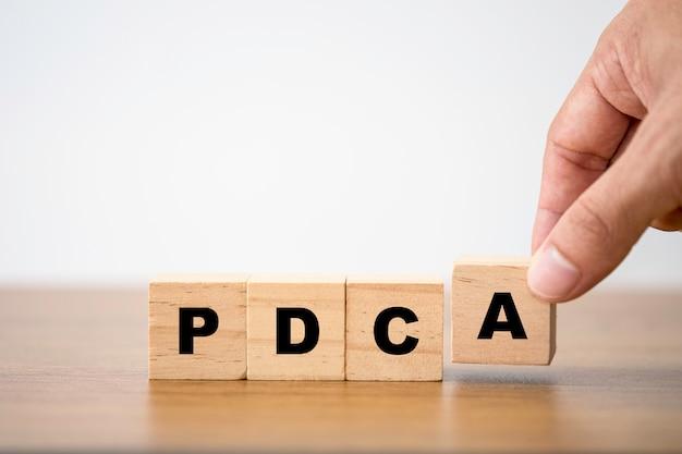 Вручите установку pdc и a которые печатают экран на деревянном кубическом блоке. plan do check and action - это концепция постоянного улучшения качества.