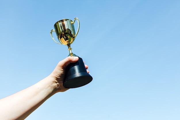 空を背景に、チャンピオンのグラスを手で上げます。勝利の概念