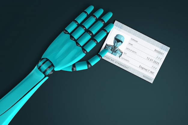 Hand of the robot submitting the passport