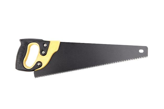 흰색 배경에 격리된 나무 손잡이와 검은색 칼날이 있는 손 톱