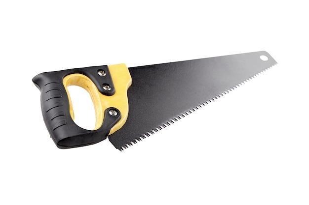 흰색 배경에 분리된 나무 손잡이와 검은색 칼날이 있는 손 톱