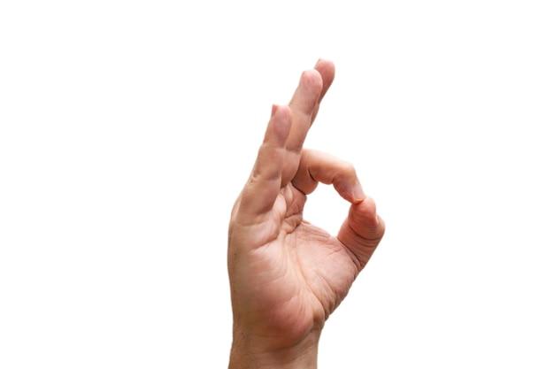 흰색 배경에 고립 된 확인 표시를 보여주는 손.