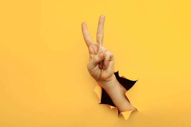 引き裂かれた黄色い紙の背景の勝利vサインを通して平和のジェスチャーを示す手