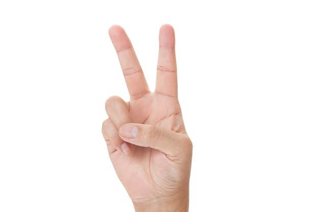 Hand showing the sign of victory and peace close-up isolated on white background