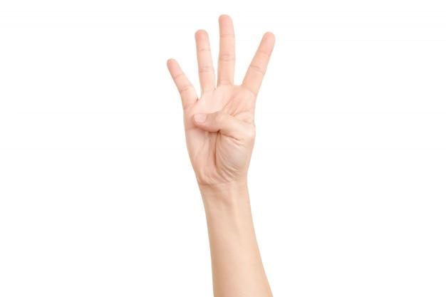 Hand shown four finger symbol.