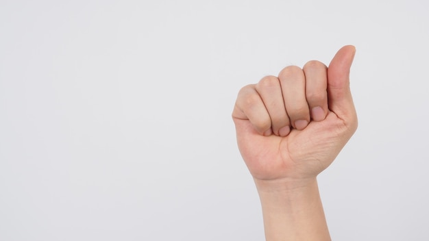 The hand sign language of a for the deaf on white background.