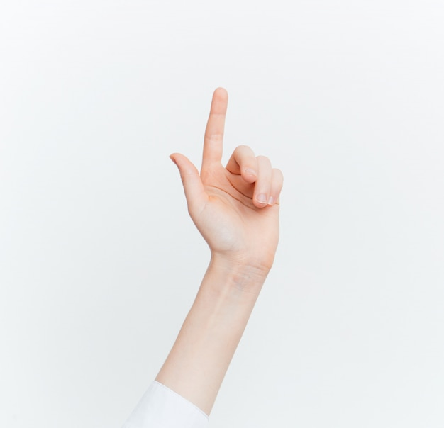 Hand signs white wall