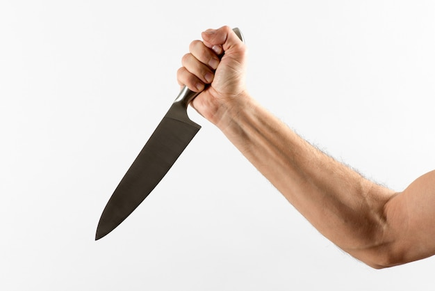 Hand stabbing with sharp knife