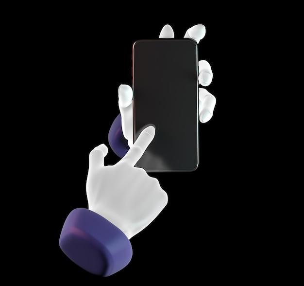 손으로 두드리는 전화, 검은 배경에 고립. 3d 그림. 소셜 미디어, 앱, 메시지 및 댓글의 모형 개념 집합입니다.