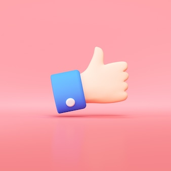Hand thumbs up icon, like button 3d render.