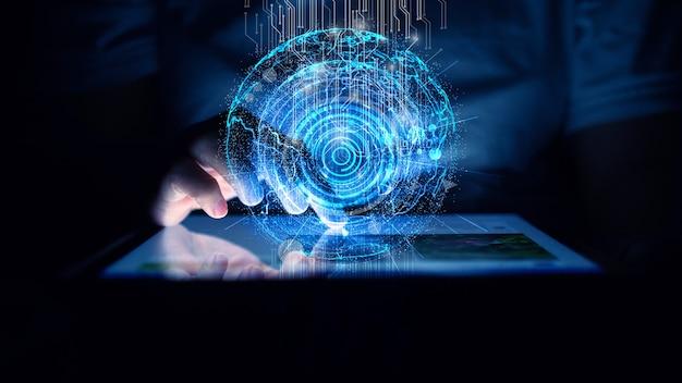タブレットのハンドタッチスクリーン。デジタル技術の概念