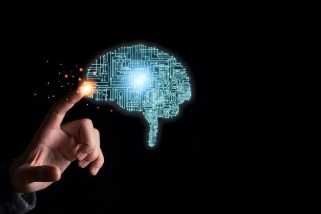 창의력 그림 전자 회로 두뇌를 만지는 손. 인공 지능과 ai 기술 개념입니다.