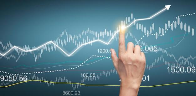 財務指標と会計市場経済分析チャートの手で触れるグラフ