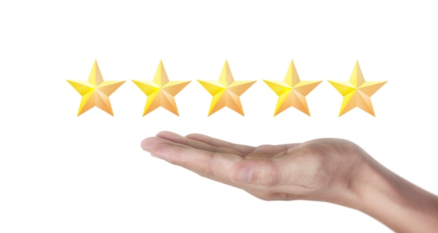 Hand of touching rise on increasing five stars. increase rating evaluation classification concept