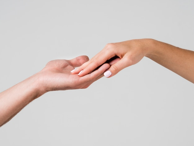 Hand touching for valentines day
