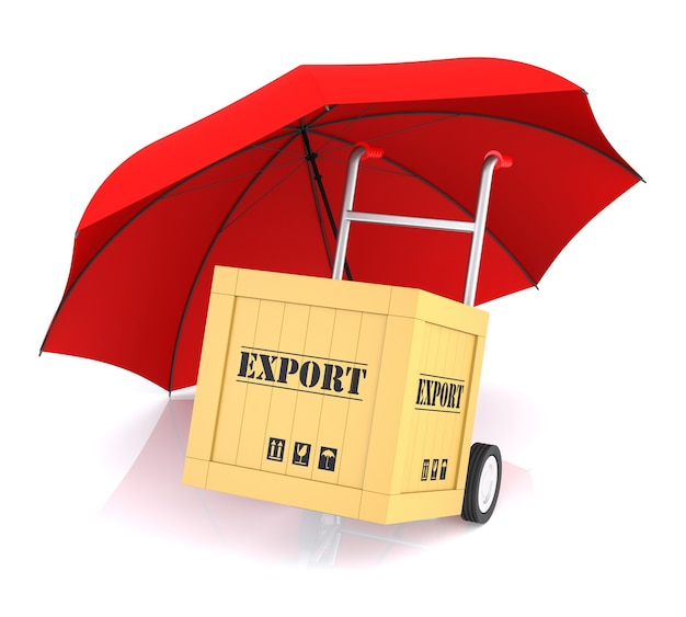 Коробка экспорта ручной тележки и красный зонтик. 3d-рендеринг