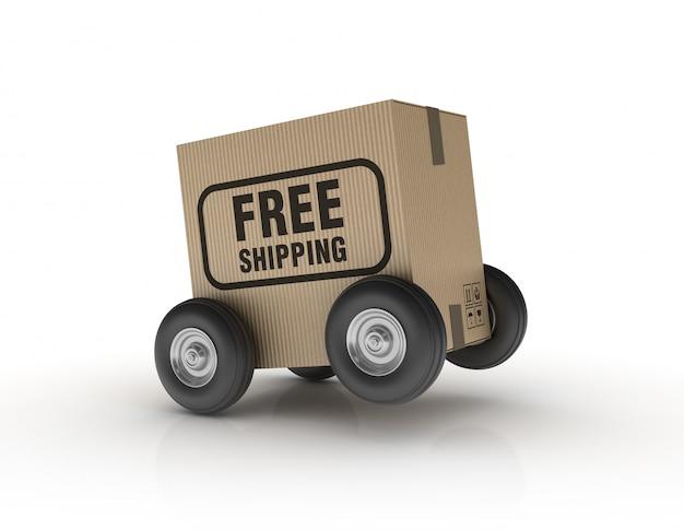 무료 배송 라벨을 가진 바퀴에 핸드 트럭