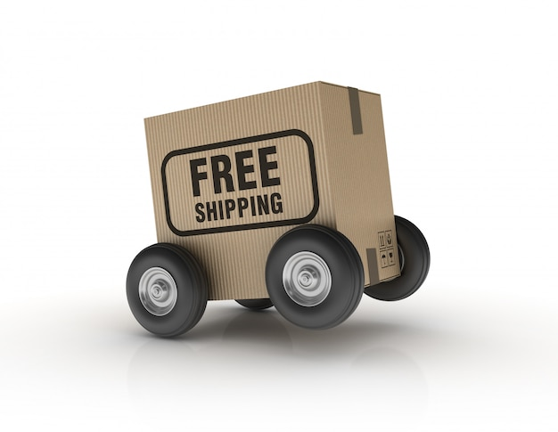 Hand truck on wheels with free shipping label