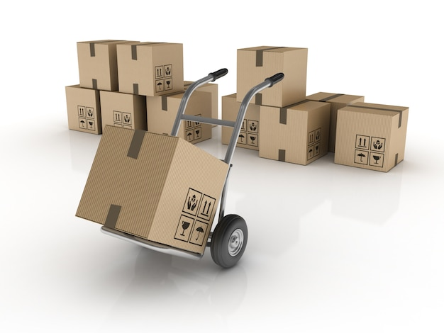 Ручная тележка с картонными коробками