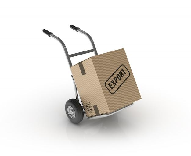 Ручная тележка с картонной коробкой export