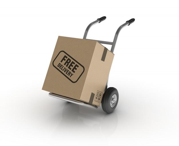 무료 배송 라벨이있는 핸드 트럭