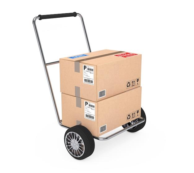 Ручная тележка с картонными коробками посылки на белом фоне. 3d рендеринг