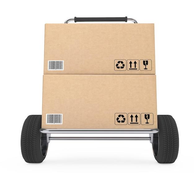白い背景の上の小包段ボール箱と台車。 3dレンダリング