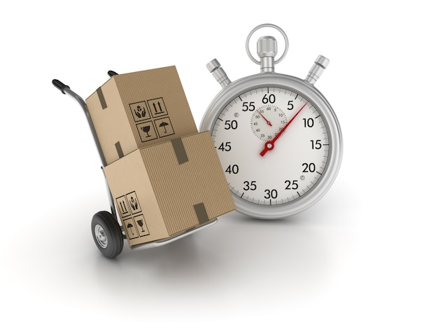 Hand truck with stopwatch