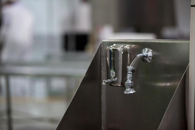 Hand wash basin at meat factory