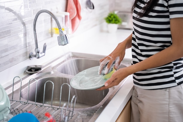 Hand washing a plate on a sink