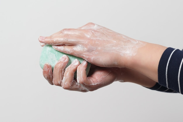 Hand washing with antibacterial soap. prevention of coronavirus. close-up.