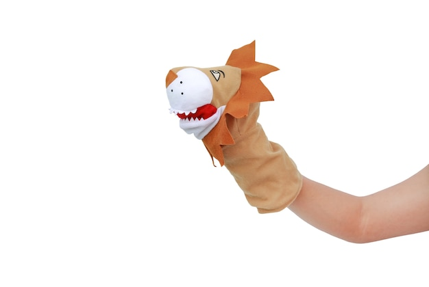 Hand wearing lion puppets isolated on white background