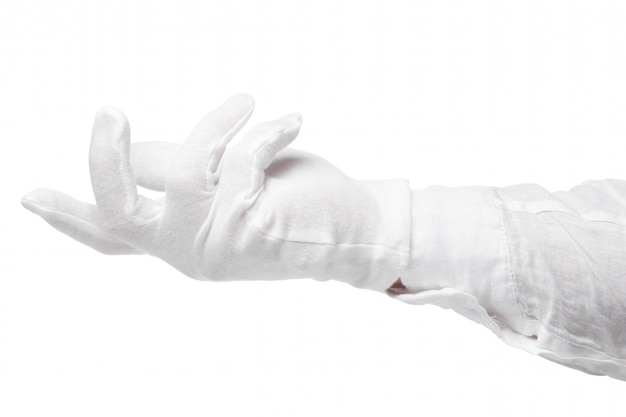 Hand in a white glove isolated. gesture eye-catching. gesticulation