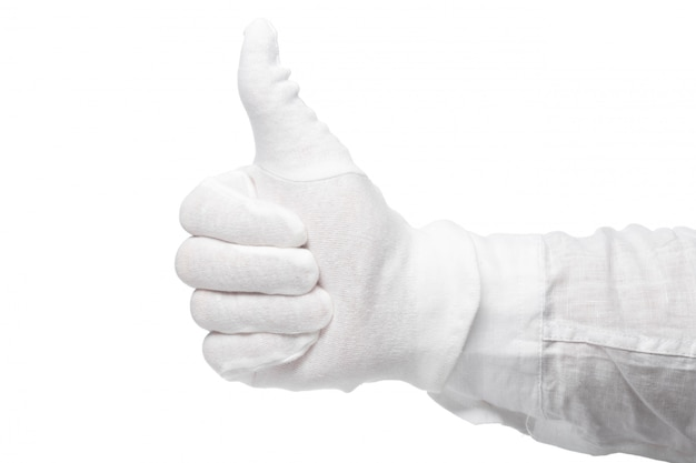 Hand in a white glove isolated on a white background. gesture eye-catching. gesticulation