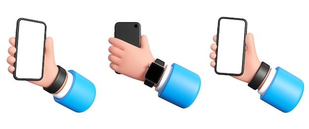 흰색 배경에 스마트폰을 든 손 3d 그림 사업가는 손에 전화를 들고 있습니다.