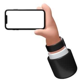 Рука со смартфоном на белом фоне 3d иллюстрации бизнесмен держит телефон в руке