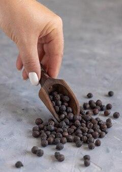 복사 공간이 있는 회색 테이블에 이탈리아 아풀리아와 바실리카타의 마른 검은 병아리콩을 나무로 든 손