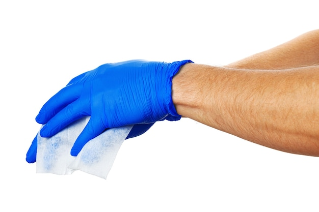 Hand with blue gloves takes a white cloth, close up