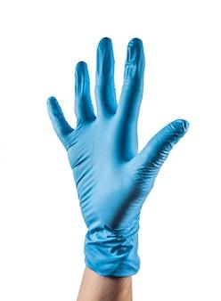 다섯 손가락을 보여주는 블루 라텍스 장갑 손