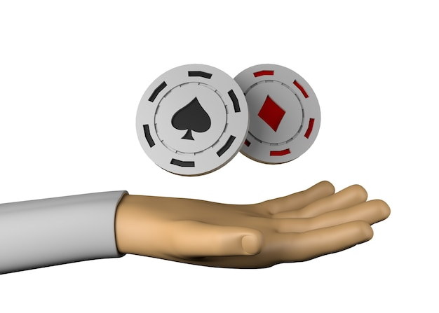 Hand with casino chips. spades and diamonds. gambling .3d illustration.
