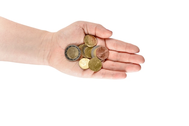 Hand with euro cent coins. woman hands with coins.