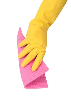Hand with glove and sponge on white