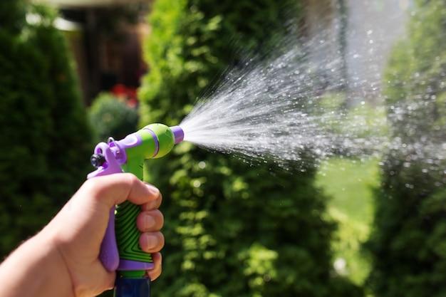 호스가 있는 손으로 정원에 물을 주는 식물을 뿌립니다.