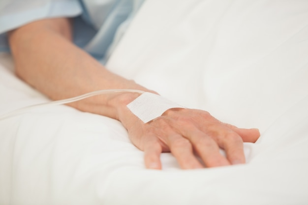 Hand with intravenous drip