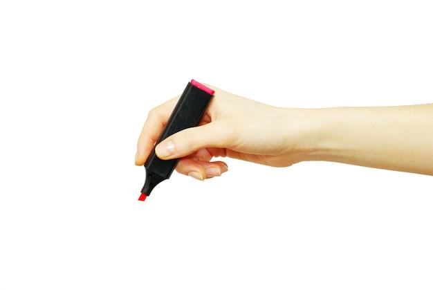 흰색 배경에 고립 된 표시와 함께 손
