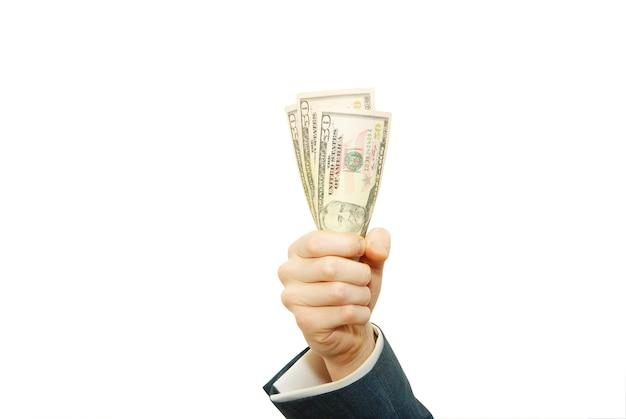 白で隔離の分離されたお金を持つ手