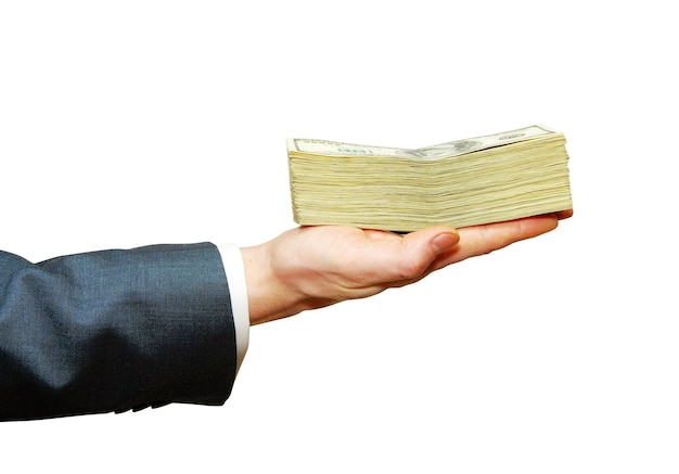 흰색 배경에 고립 된 돈으로 손